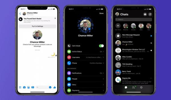 "Facebook introduces ""Dark Mode"" on Messenger"